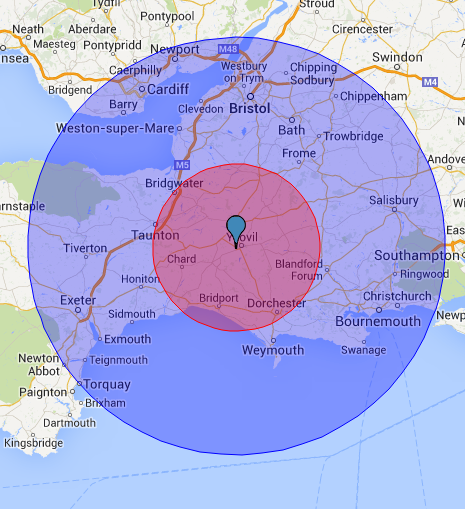 Yeovil Delivery Radius